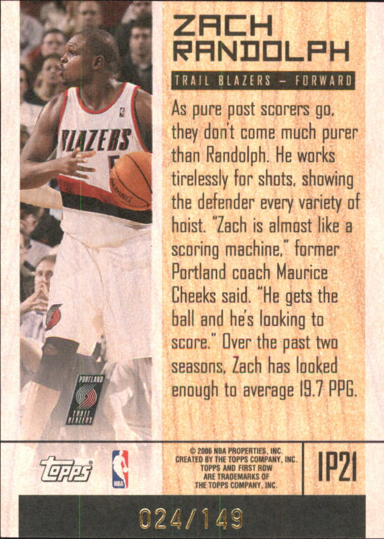 2005-06 Topps First Row In The Post #21 Zach Randolph back image