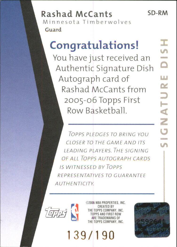 2005-06 Topps First Row Signature Dish #RM Rashad McCants/190 back image