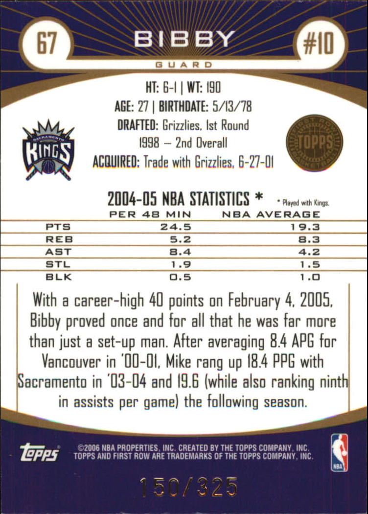 2005-06 Topps First Row 325 #67 Mike Bibby back image
