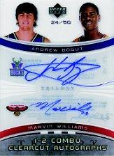 2005-06 Upper Deck Trilogy One Two Combo Clearcut Autographs #BW Andrew Bogut/Marvin Williams