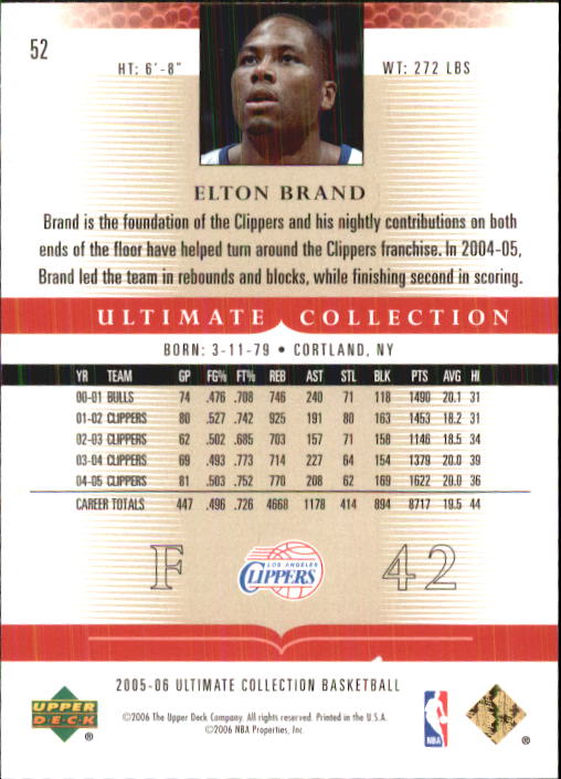 2005-06 Ultimate Collection #52 Elton Brand back image