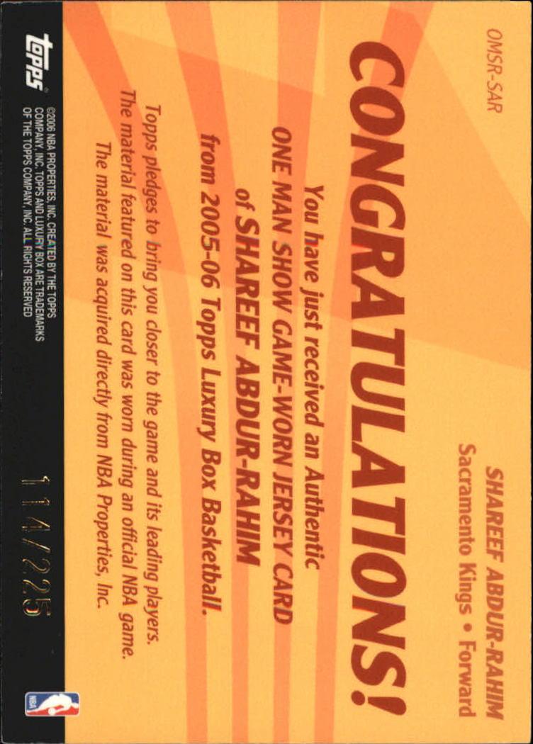 2005-06 Topps Luxury Box One Man Show Relics #SM Stephon Marbury back image
