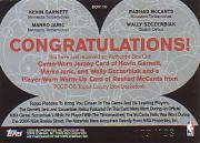 2005-06 Topps Luxury Box Box Out Quad Relics #16 Kevin Garnett/Rashad McCants/Marko Jaric/Wally Szczerbiak back image