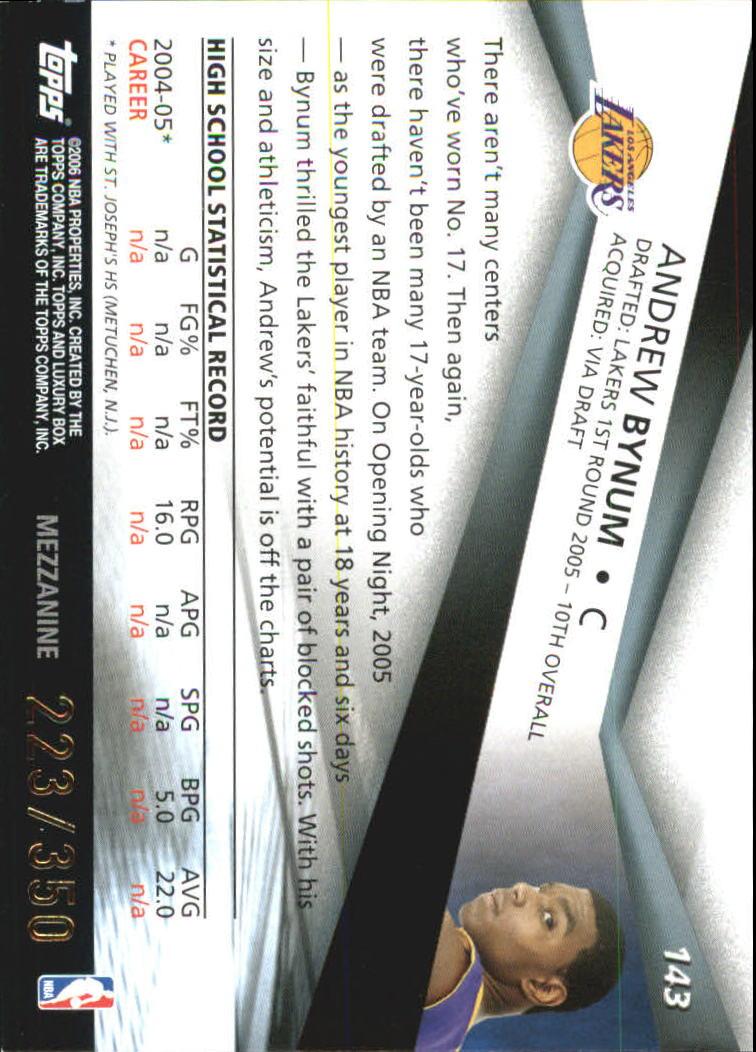 2005-06 Topps Luxury Box 350 #143 Andrew Bynum back image