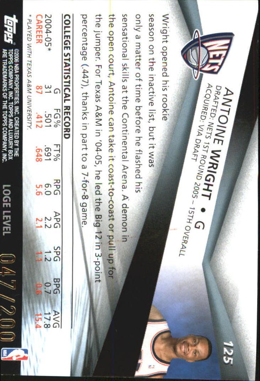 2005-06 Topps Luxury Box 200 #125 Antoine Wright back image