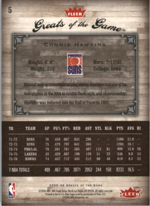2005-06 Greats of the Game #5 Connie Hawkins back image