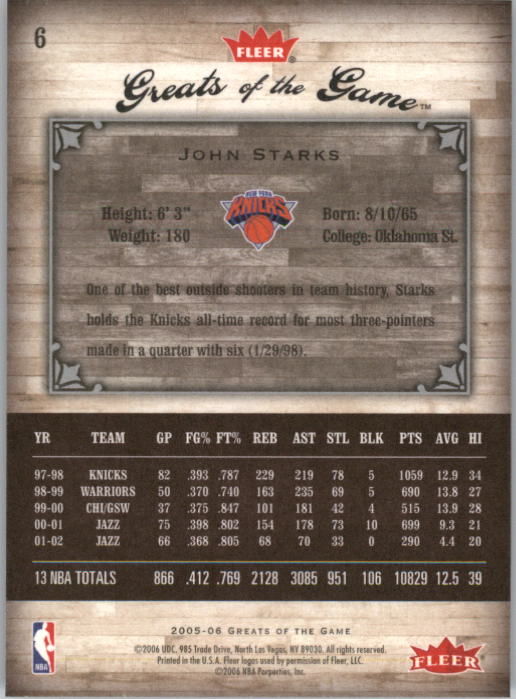 2005-06 Greats of the Game #6 John Starks back image