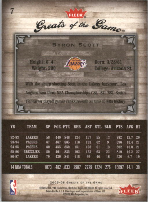 2005-06 Greats of the Game #7 Byron Scott back image