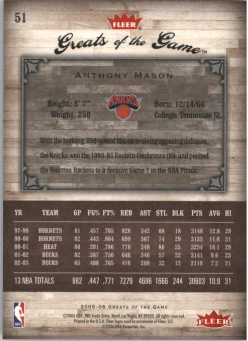 2005-06 Greats of the Game #51 Anthony Mason back image