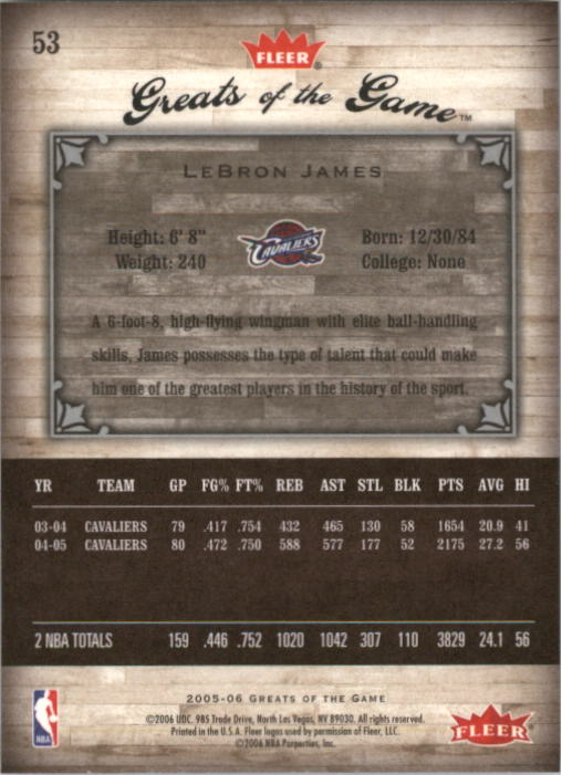 2005-06 Greats of the Game #53 LeBron James back image