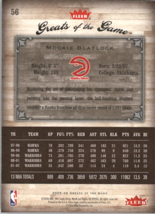 2005-06 Greats of the Game #56 Mookie Blaylock back image