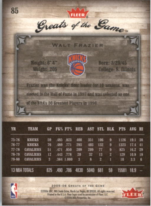 2005-06 Greats of the Game #85 Walt Frazier back image