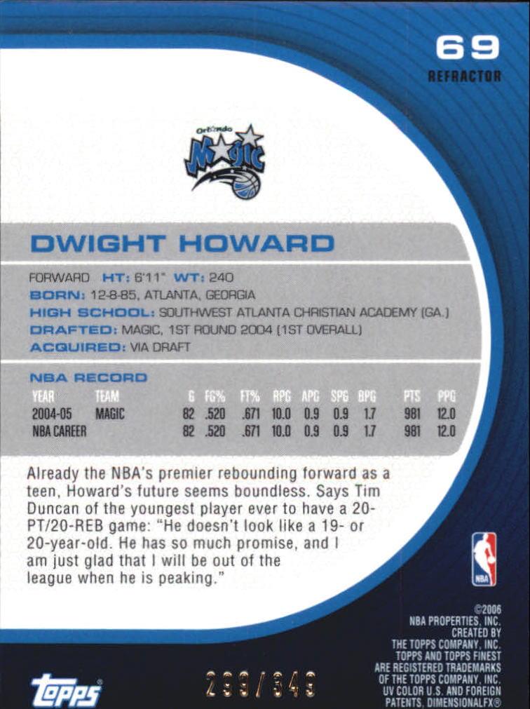 2005-06 Finest Refractors #69 Dwight Howard back image