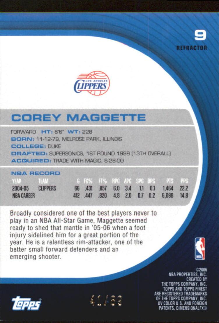 2005-06 Finest Refractors Green #9 Corey Maggette back image