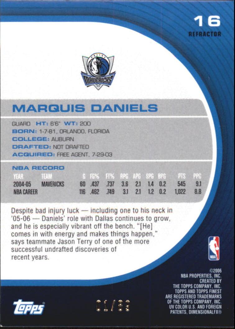 2005-06 Finest Refractors Green #16 Marquis Daniels back image