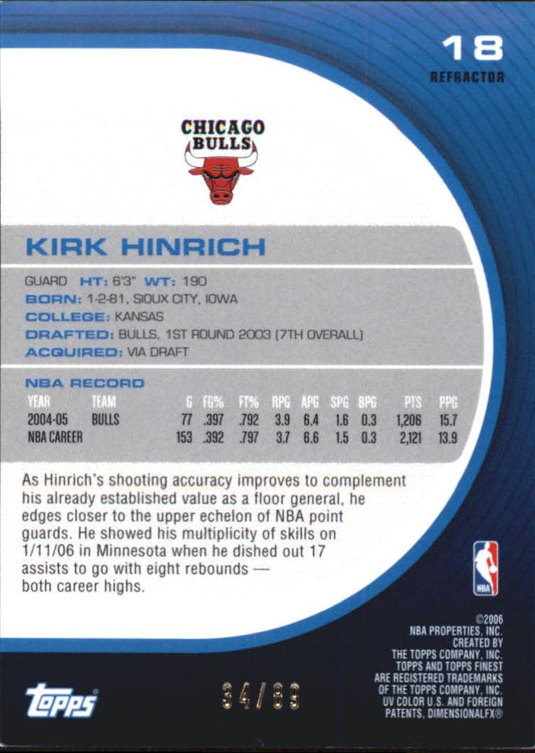 2005-06 Finest Refractors Green #18 Kirk Hinrich back image