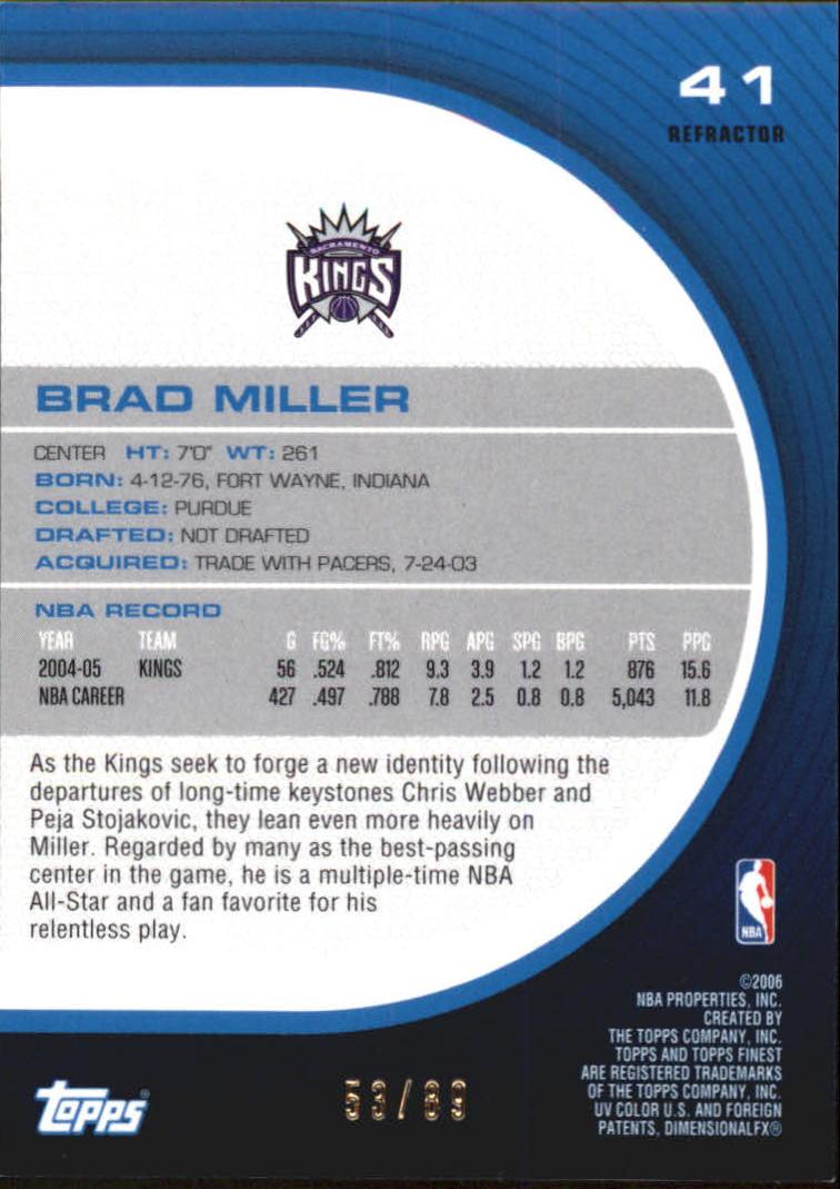 2005-06 Finest Refractors Green #41 Brad Miller back image