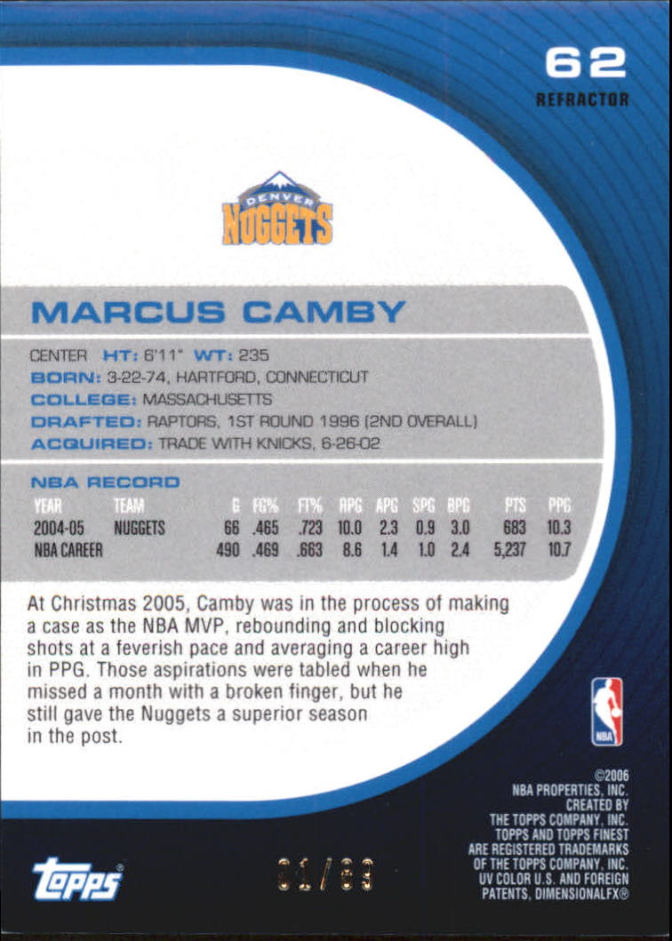 2005-06 Finest Refractors Green #62 Marcus Camby back image