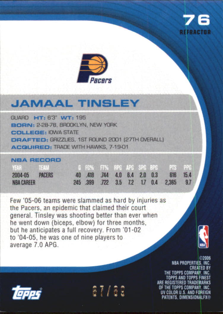 2005-06 Finest Refractors Green #76 Jamaal Tinsley back image