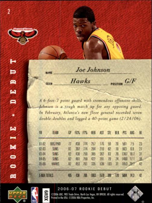 2006-07 Upper Deck Rookie Debut #2 Joe Johnson back image