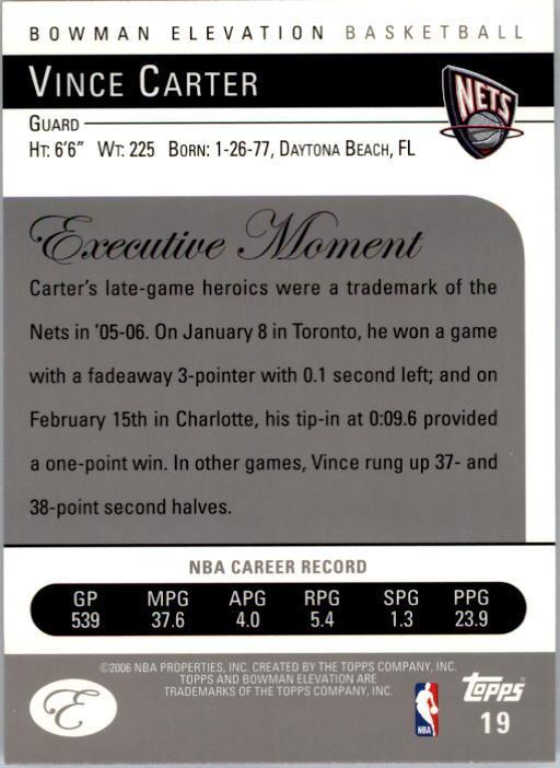 2006-07 Bowman Elevation #19 Vince Carter back image