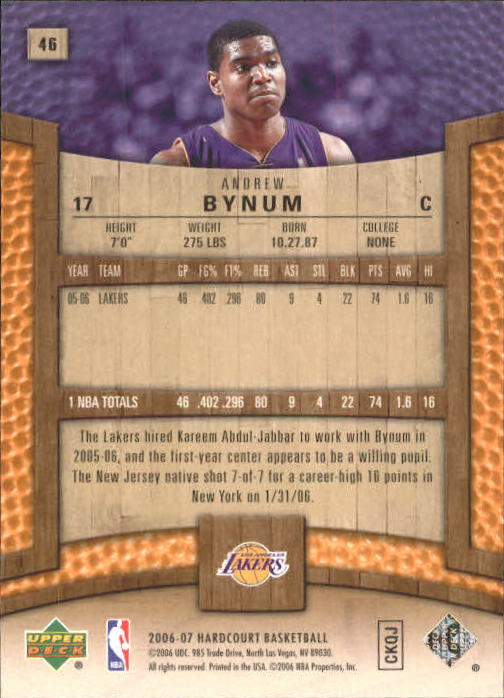 2006-07 Upper Deck Hardcourt #46 Andrew Bynum back image