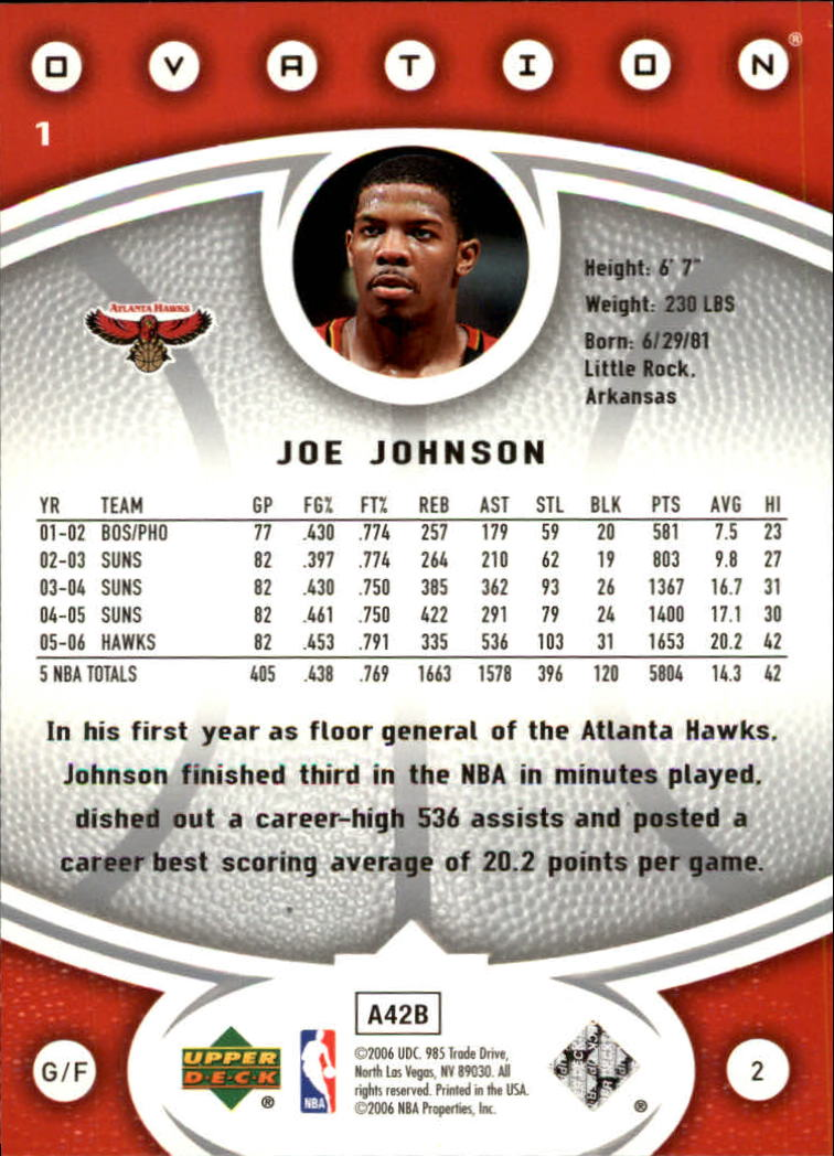 2006-07 Upper Deck Ovation #1 Joe Johnson back image