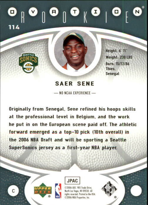 2006-07 Upper Deck Ovation #114 Saer Sene RC back image