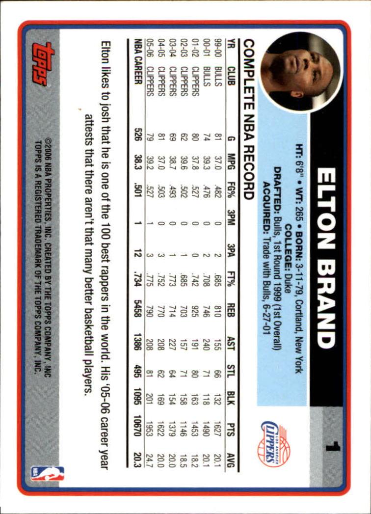 2006-07 Topps #1 Elton Brand back image