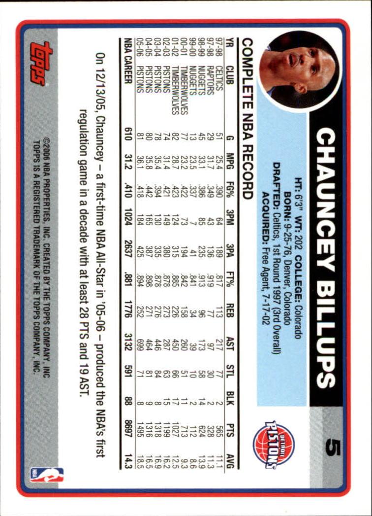 2006-07 Topps #5 Chauncey Billups back image
