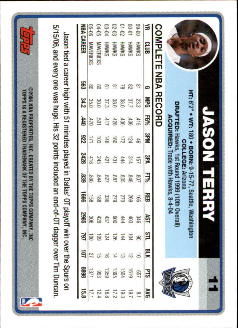 2006-07 Topps #11 Jason Terry back image
