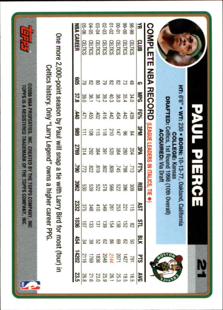 2006-07 Topps #21 Paul Pierce back image