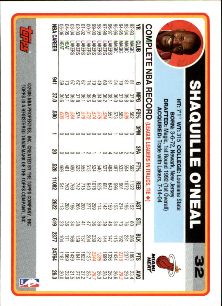2006-07 Topps #32 Shaquille O'Neal back image