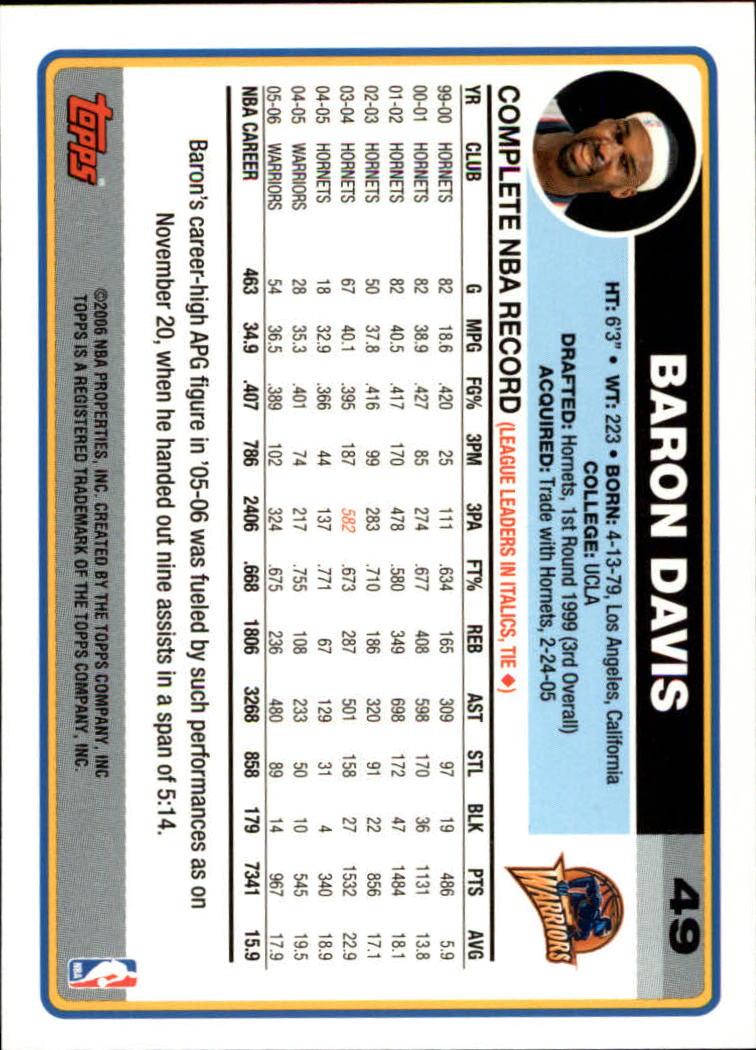 2006-07 Topps #49 Baron Davis back image