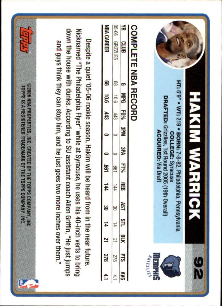 2006-07 Topps #92 Hakim Warrick back image