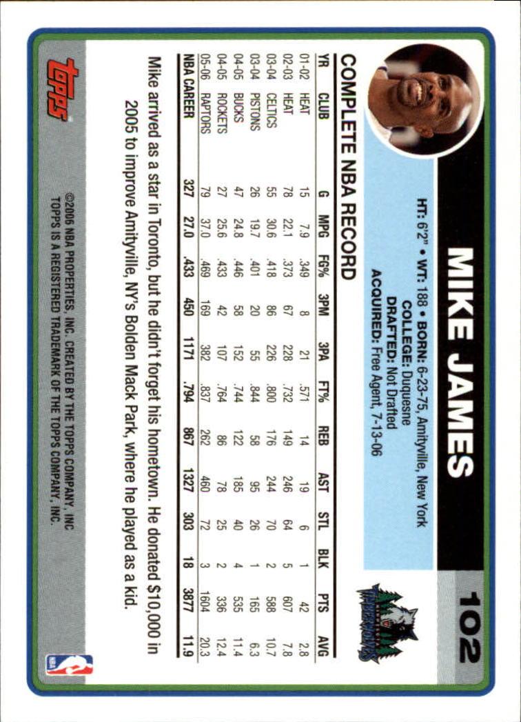 2006-07 Topps #102 Mike James back image