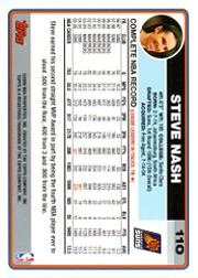 2006-07 Topps #110 Steve Nash back image