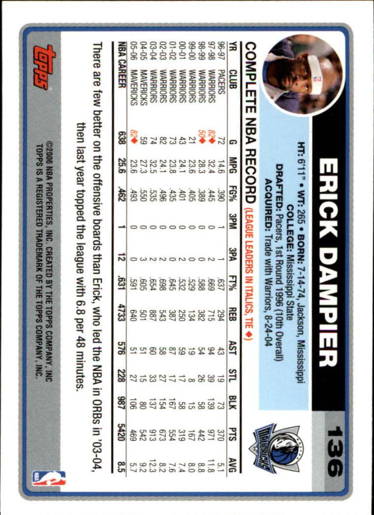 2006-07 Topps #136 Erick Dampier back image