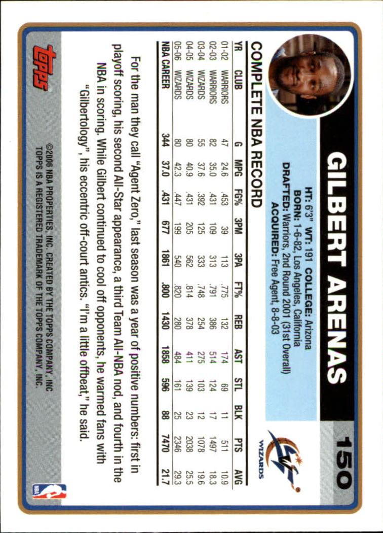 2006-07 Topps #150 Gilbert Arenas back image