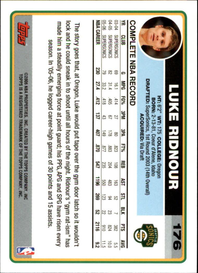 2006-07 Topps #176 Luke Ridnour back image