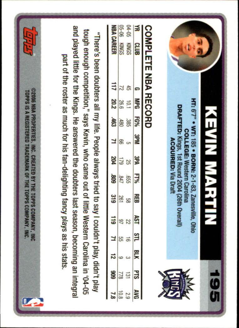 2006-07 Topps #195 Kevin Martin back image