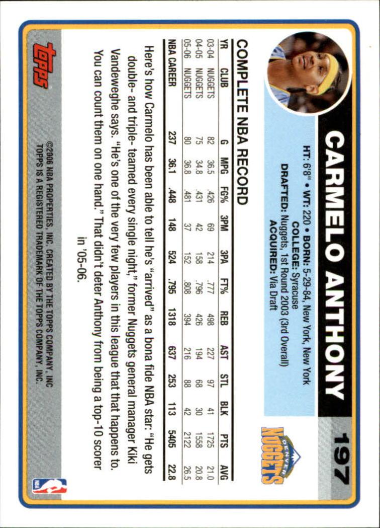 2006-07 Topps #197 Carmelo Anthony back image