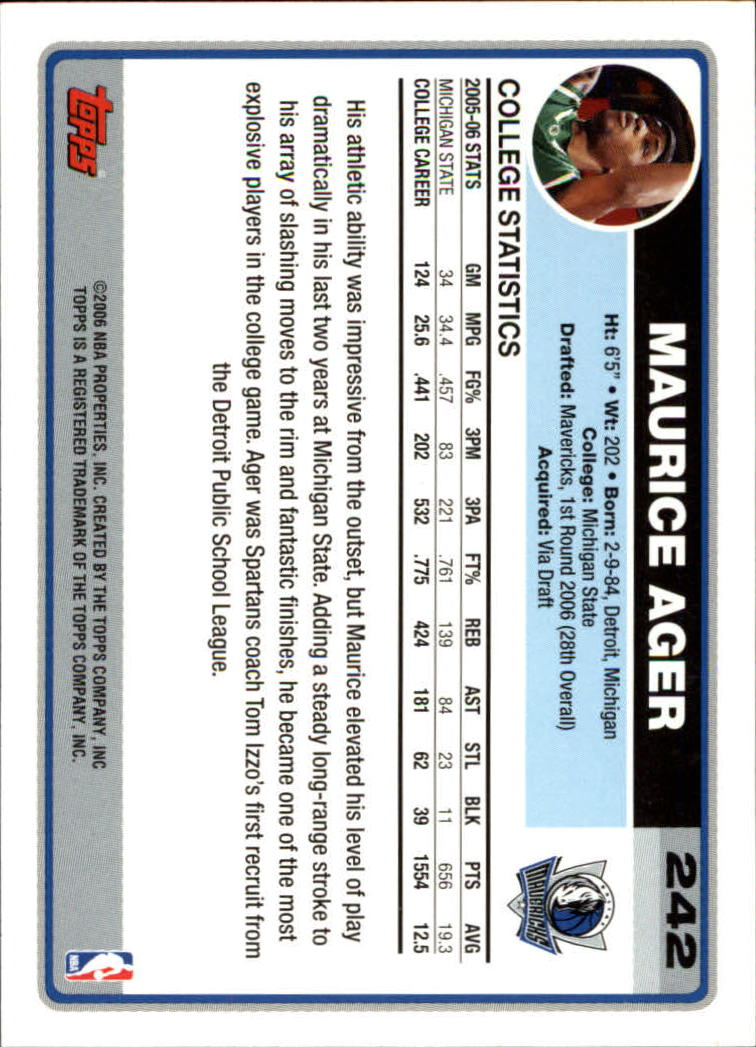 2006-07 Topps #242 Maurice Ager RC back image