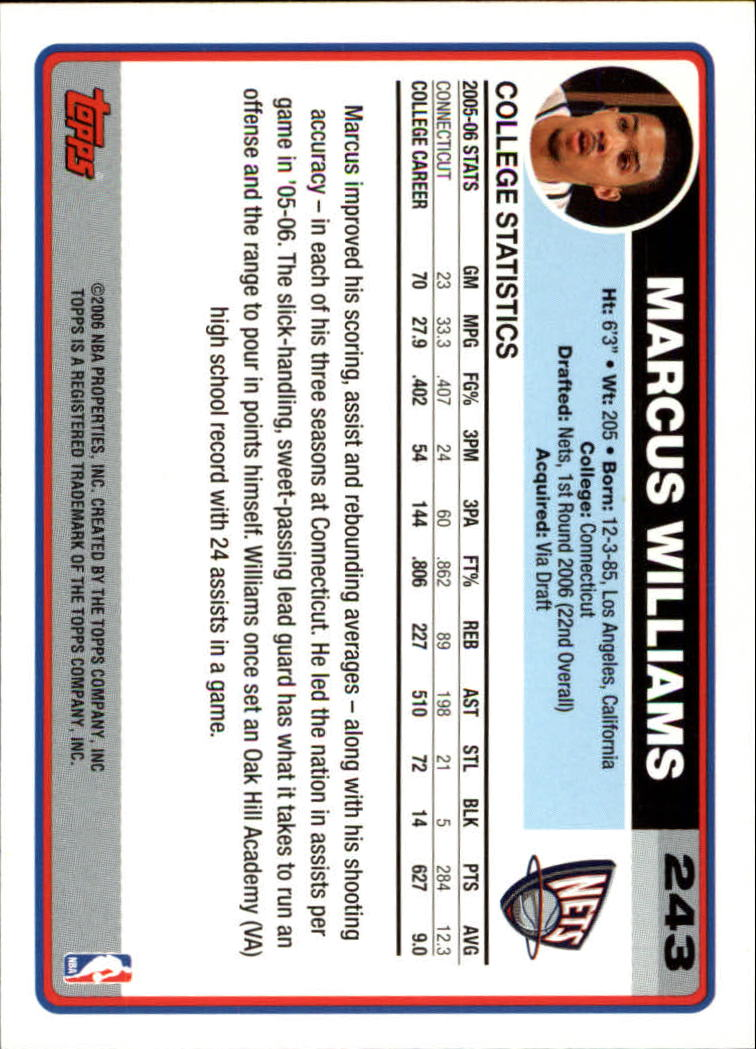 2006-07 Topps #243A Marcus Williams RC back image