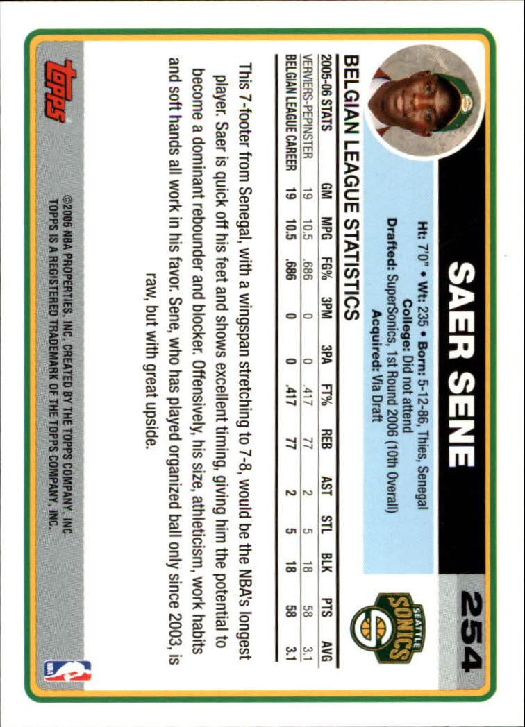 2006-07 Topps #254 Saer Sene RC back image
