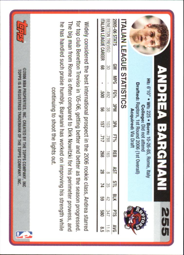 2006-07 Topps #255B Andrea Bargnani Draft RC back image