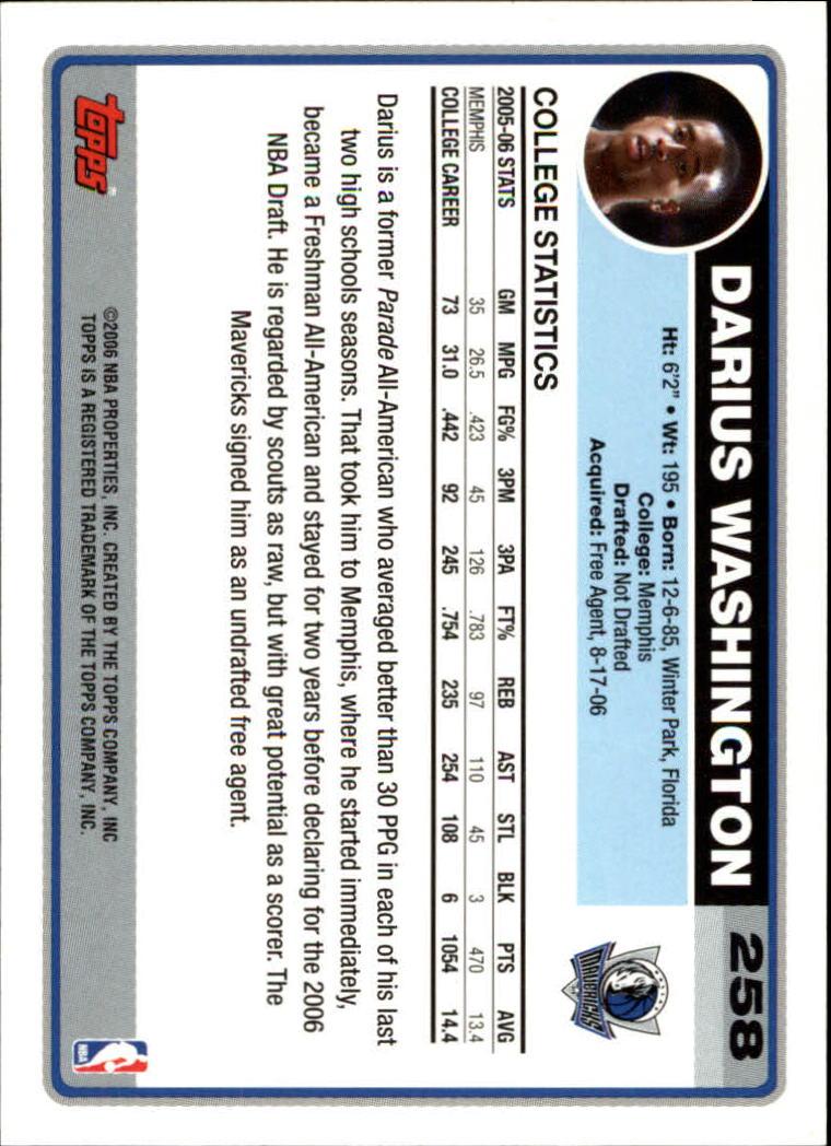 2006-07 Topps #258 Darius Washington RC back image