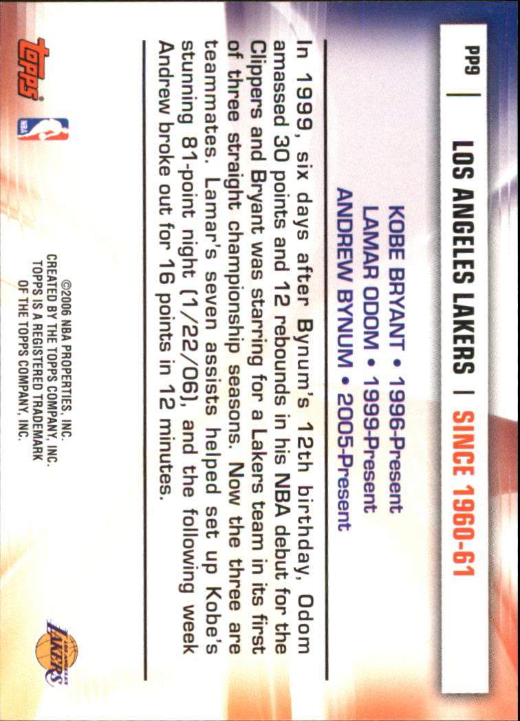 2006-07 Topps Pride of the Program #PP9 Kobe Bryant/Lamar Odom/Andrew Bynum back image