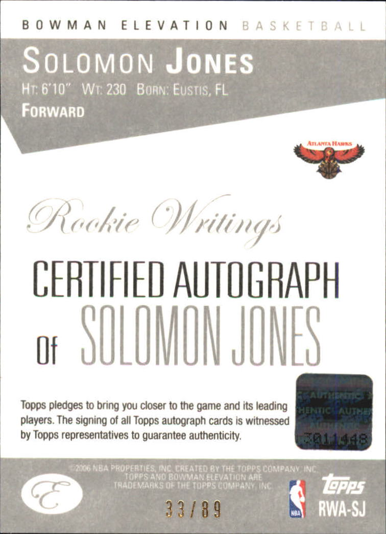 2006-07 Bowman Elevation Rookie Writing Autographs Red #SJ Solomon Jones/89 back image