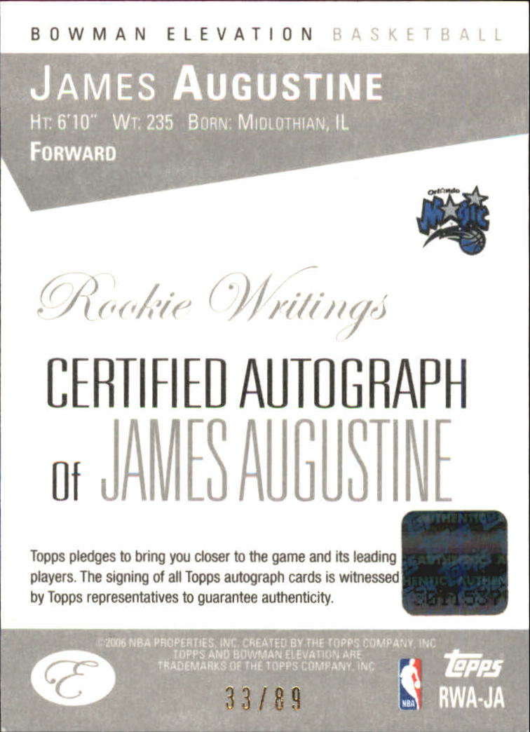 2006-07 Bowman Elevation Rookie Writing Autographs Red #JA James Augustine/89 back image